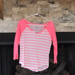 Pink and white striped tee shirt